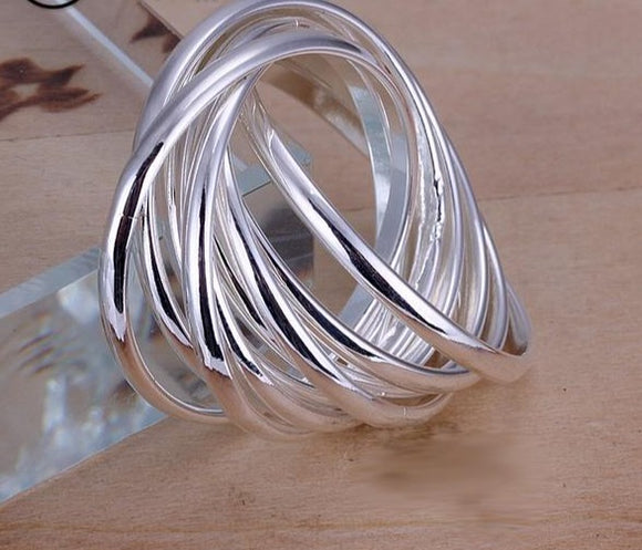 Simple crossover elegant rings, silver plated for women fashion jewelry