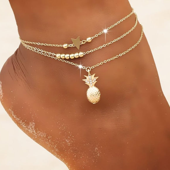 Peacock Ankle Chain Pineapple Pendant Anklet Beaded  Summer Beach Foot Jewelry Fashion Style Anklets for Women