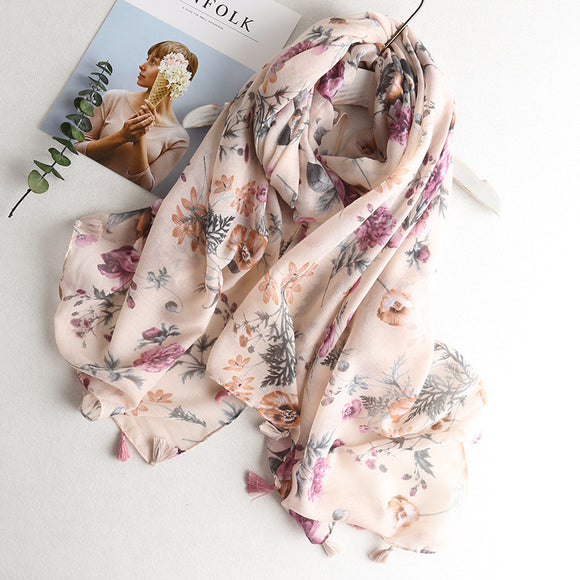 Peacock cactus  scarf women viscose shawl ladies tropical print hijab scarf  dress flamingo scarves