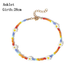 Peacock Bohemian Colorful Seed Bead Flower Collection, Choker Necklace, Anklet, Bracelet for Women Jewelry