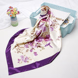 Peacock Fashion Hair Scarf For Women Floral Print Silk Satin Hijab Scarfs 90cm*90cm Square Headscarf Neckerchief Scarves For Ladies