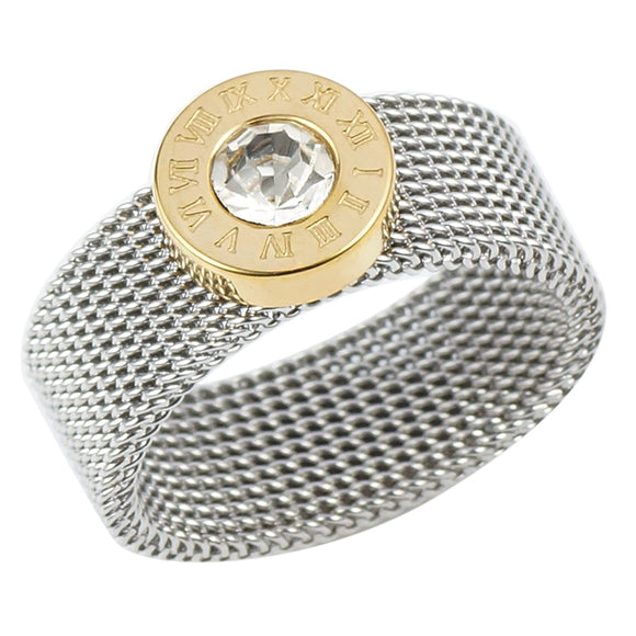Peacock ,Gold ,Silver ,Color, Stainless Steel, Ring ,Big, Round Crystal , Ring Roman Numerals, Rings Round Titanium. Ring for Women, Men.