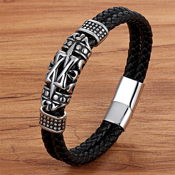 Punk Style Ancient Architecture Totem Elegant Small Adorn Article Genuine Leather Bracelet Double Layer Hand Jewelry Gift