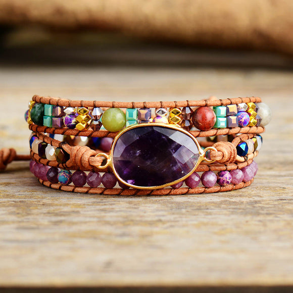 Peacock,Leather Wrap Bracelets,  Natural Stone ,Amethysts, Crystals Beaded, Triple, Statement Art ,Bracelet  ,Bohemian Jewelry