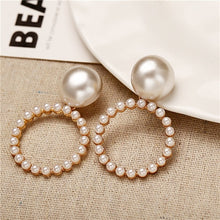 Load image into Gallery viewer, Peacock Oversize Pearl Hoop Earrings For Women and Girls. Unique Twisted Big Earrings, Circle Earring for Fashion Jewelry