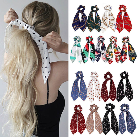 Peacock fashion  Ponytail Scarf Elastic Hair Rope for Women Hair Ties  Hair Bands Flower Print