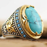 Peacock , Bohemian , Large Oval ,Natural Stone , Rings, For Women, Men, Vintage, Dual , Color, Blue Beads ,Turquoises.