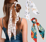 Peacock Flower Print Hair Scarf Bow Scrunchies Ponytail Headband for Women Hair Accessories Bowknot Elastic Hair Rope Hairbands