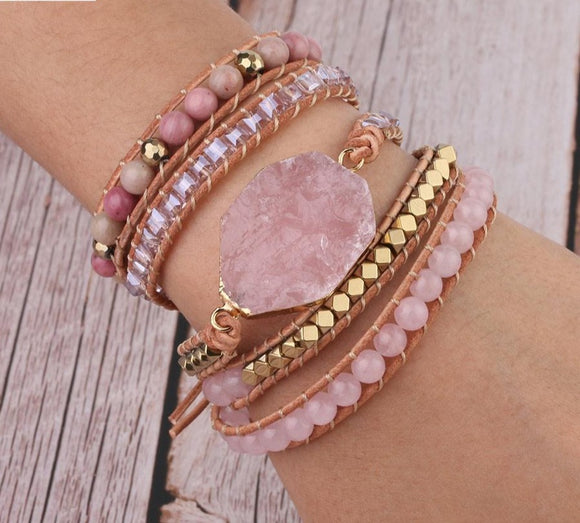 Peacock, Natural Stone, Bracelet ,Pink Quartz ,Leather Wrap ,Bracelets for Women, Rose Gems, Crystal Beads Bohemia