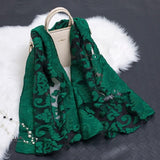 Peacock Women Simulation Silk Cut Flower Scarf Scarves Girls Embroidery Wild Sunscreen Shawl Adult Long Embroidered Lace Scarfs