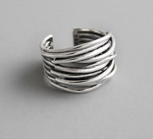 Peacock , 2020, Simple, Style Silver, Colo,r Multilayer ,Line Rings For, Women