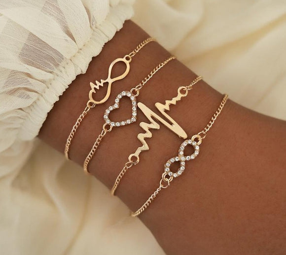 Crystal Heart Infinity Bracelets for Women Gold Heart Beat Charm Wrist Chain Bracelets Set Fashion Hand Jewelry.