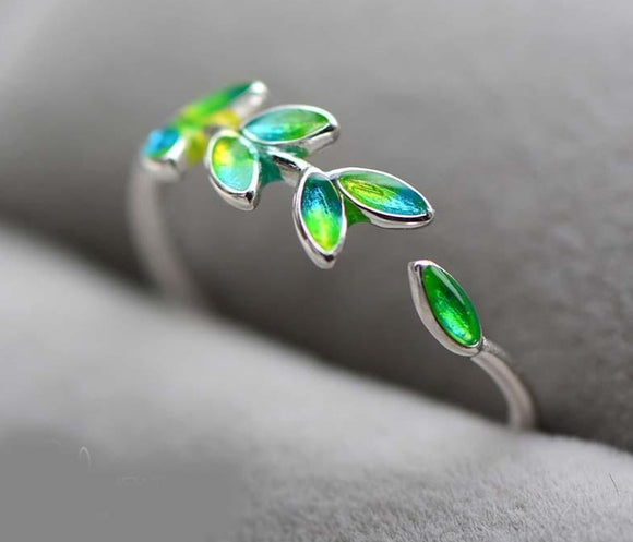 Olive Branch Wedding Anniversary green-blue Leaf Rings for Women Jewelry.