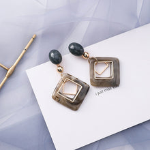 Load image into Gallery viewer, Peacock,  Blue Geometric Acrylic Irregular Hollow Circle Square Dangle Drop Earrings for Women Metal Bump Party Beach Jewelry