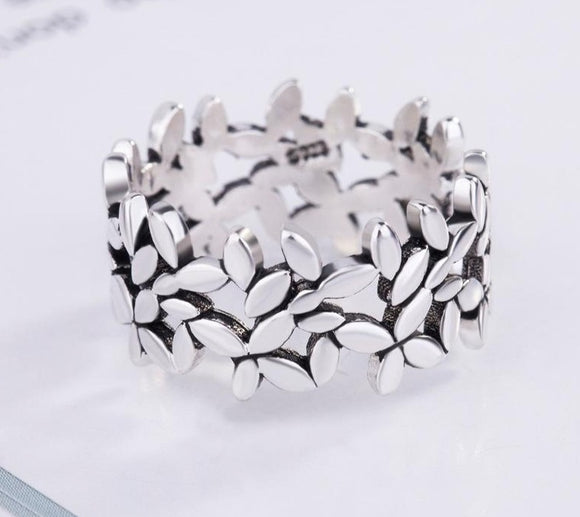 Peacock Bohemian Vintage Silver Color Leaf Rings for Women Fashion Statement Jewelry Adjustable Ring