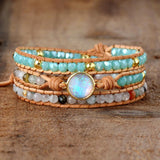 Peacock,  Women Bracelets, Natural,Opal Stone, Rhinestone, 3 Rows Leather, Wrap ,Bracelet
