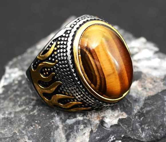 Retro Vintage Stainless Steel Onyx  Opal Ring With Colorful Stone.