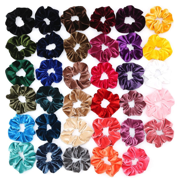 Peacock Korea Velvet Hair Scrunchie Elastic Hair Bands Solid Color Women Girls Headwear Ponytail Holder Hair Accessories