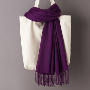 Peacock Women Solid Color Cashmere Scarves with Tassel  Soft Warm Lady Girls Wraps Thin Long Scarf Female Shawl