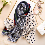 Peacock New Silk Scarf Women Fashion Dot Print Shawls and Wraps Lady Travel Pashmina High Quality Striped Scarves Winter Neck Wram