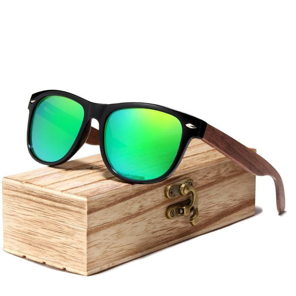 Peacock Black Walnut Sunglasses Wood Polarized Sunglasses Men UV Protection Eyewear With Wood Box .