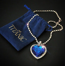 Load image into Gallery viewer, Peacock ,Titanic Heart ,of Ocean blue, heart, love forever pendant Necklace + velvet bag