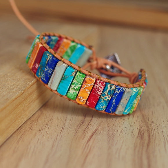 Peacock ,Natural Stone, Handmade, Multi Color, Chakra, Bracelet Jewelry, Tube Beads ,Leather Wrap Bracelet.