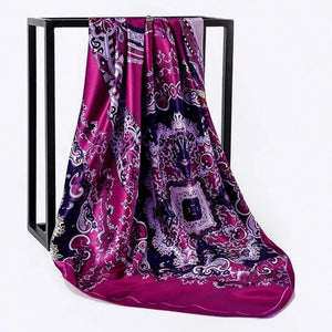 Peacock Silk Scarf Women Print hair neck Square Scarves Office Ladies Shawl Bandanna 90*90cm Muslim Hijab Handkerchief