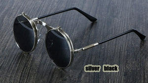 Peacock  Sunglasses Round Metal Women Style Retro Flip Circular Double Metal Sun Glasses.