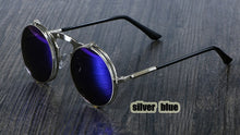 Load image into Gallery viewer, Peacock  Sunglasses Round Metal Women Style Retro Flip Circular Double Metal Sun Glasses.