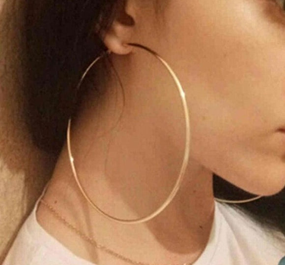 Peacock,Trendy Large Hoop Earrings Big Smooth Circle Earrings  Brand Loop Earrings for Women Jewelry