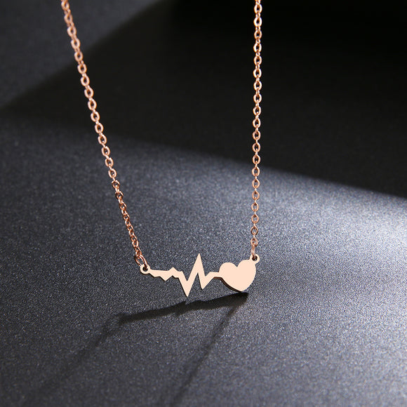 Peacock, Stainless Steel Necklace For Women Gold And Rose Gold Color Love Electrocardiogram Pendant Necklace  Jewelry