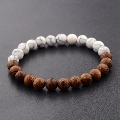 Peacock New Natural Wood Beads Bracelets Men Black  White Bracelet Women