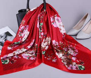 Peacock Fashion Kerchief Silk Satin Neck Scarf For Women Print Hijab Scarfs Female 90*90cm Square Shawls and Wraps Scarves For Lady