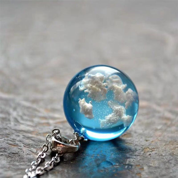 Peacock, Chic Transparent,Resin Rould Ball Moon, Pendant Necklace ,Women Blue Sky White Cloud Chain Necklace Fashion Jewelry.