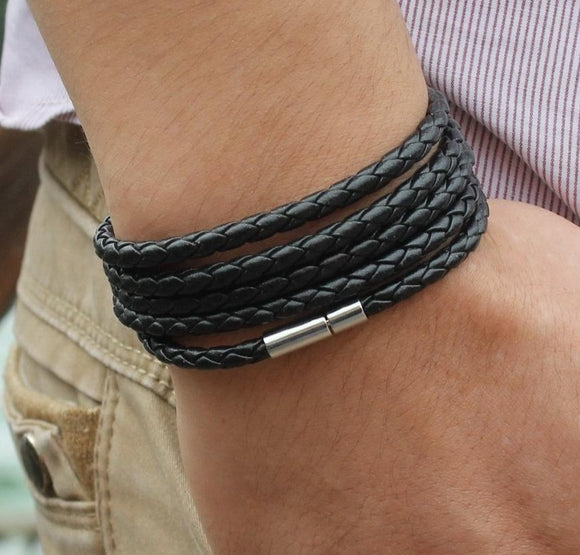 peacock,brand black ,retro Wrap, Long leather ,bracelet men bangles fashion sproty Chain link male charm bracelet .
