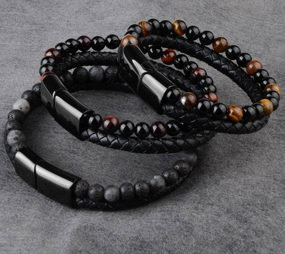 Peacock  Men Jewelry Natural Stone Genuine Leather Bracelet Black Stainless Steel Magnetic Clasp Tiger eye Bead Bracelet Men