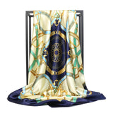 Peacock Scarf Fashion Foulard Satin Shawl Scarfs Big Size 90*90cm Square silk Hair / Head Scarves Women bandana