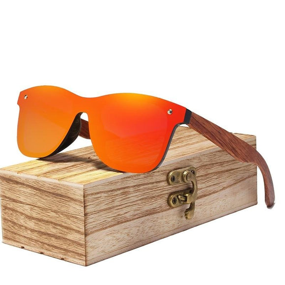 Peacock Rimless Polarized Wood Sunglasses Men Square Frame UV400 Sun glasses Women Sun glasses