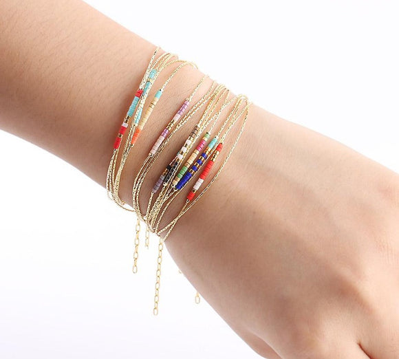 Bracelets for Women Beads Adjustable Bracelet 2-layer Cute  Gold Color.