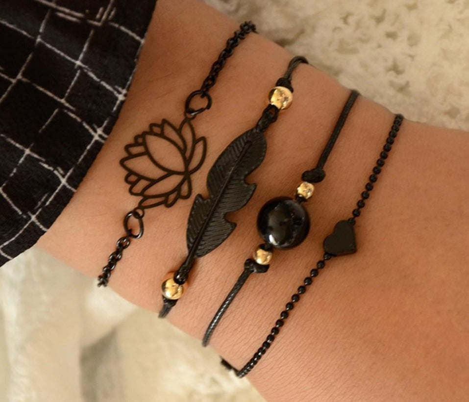 Peacock ,  Black Feather, Lotus, Bracelets ,Set Heart Charm ,Boho ,Bangles, for Women, Wrist Chain Bracelets Fashion Jewelry