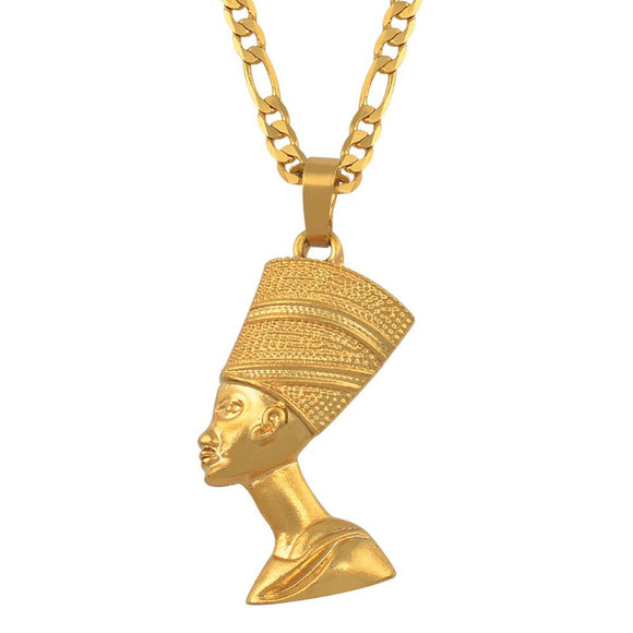 Peacock,  Egyptian Queen Nefertiti ,Pendant ,Necklaces for Women, Jewelry Gold Color.