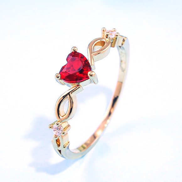 Simple Heart Ring For Women With Zircon Stone Jewelry.