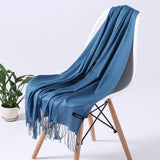 Peacock Fashion Solid Color  Women Scarf Winter Hijabs Tessale Tassels Long Lady Shawls Cashmere Like Pashmina Hijabs Scarves Wraps