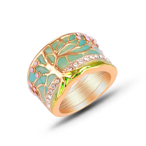 Peacock ,Hot Lucky Flower Tree ,Rings, Fashion, Gold ,,Pink Opal ,Green,Enamel Wide Ring for Woman