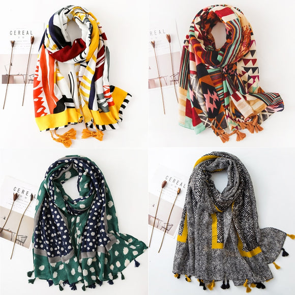 Peacock Spring Autumn Ethnic Women Long Scarf Tassel Polyester Viscose Shawls and Wraps Ladies Hijab Scarf