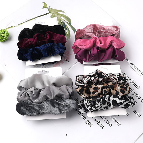 Peacock Vintage Scrunchie Velvet Leopard Scrunchies Set Elastic Hair Bands Fashion Headband Ponytail Ties Rope Hair Accessories