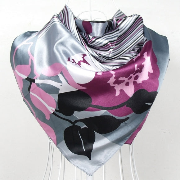 Peacock Women Large Square Silk Scarf Printed,90*90cm Fashion Spring And Autumn Grey And Purple Polyester Silk Scarf Shawl