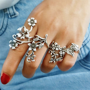 Peacock  ,Bohemian ,Vintage ,Hollow Silver ,Flower Tail Ring Sets for Women Fashion  Retro Rings Gifts