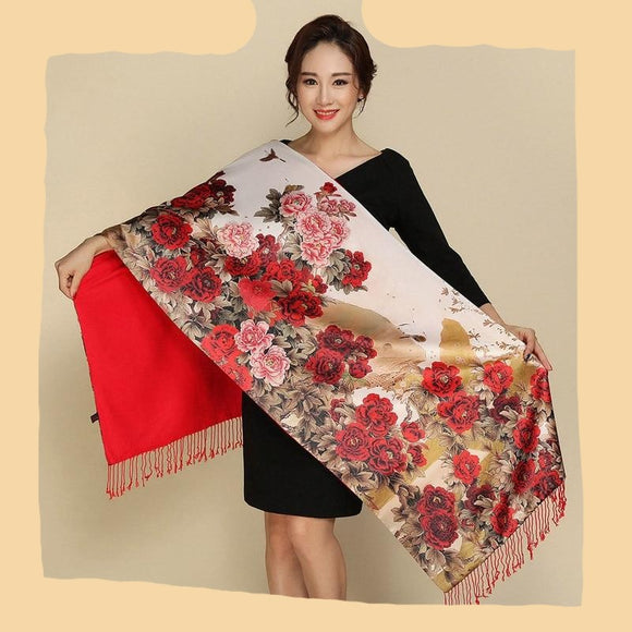 Peacock Pastoral Style Pashmina Two Sides Wear Women Scarves Silk Cashmere Scarf Retro National Tippet Warm Print Shawl Scarf